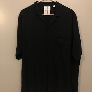 COLLUSION BLACK SHORT SLEEVE SHIRT REVERE COLLAR